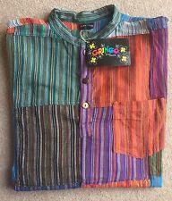 GRINGO Patchwork Camicia Grande L 52 INCH Multi Check serafino uomo Festival Nepal