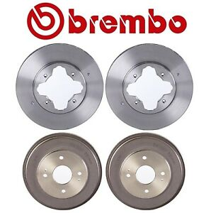 Brembo Set Front UV Coated Disc Rotors & Rear Drums Brake Kit for Honda Accord