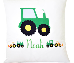 """Personalised green tractor - 16"""" white cushion cover boy's nursery/bedroom/gift"""