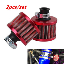 Pair 12Mm Mini Car Cone Pvc Valve Cold Air Intake Crank Case Breather Filter Red