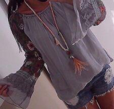 Bluse M L 42 Neu Blogger Tunika Ibiza Italy Shirt Spitze Musthave Blumen Grau 40