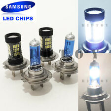 Combo H7-White-55W-Halogen H7-Samsung 57-LED 6000K Light Bulb #Ht2 High/Low Beam