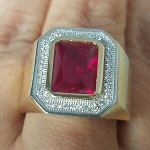 5 Carat big Mans 14k solid yellow Gold man made red ruby diamond Ring S 9 10 11