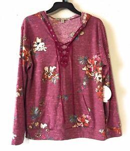 Gypsies & Moondust Juniors' Printed Lace-Up Hoodie Size S, M,L