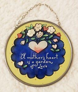 """Joan Baker Designs """"A Mother's Heart is a Garden of Love"""" Hand Painted Art Glass"""