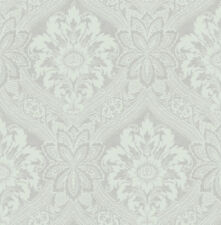 Traditional High End Victorian Damask Silver Cream Gray Double Roll Wallpaper