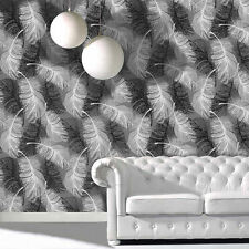 COLOROLL FEATHER BLACK WHITE GLITTER LUXURY  FEATURE DESIGNER WALLPAPER M0925
