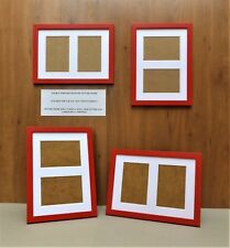 "Narrow Bright Red Photo/Picture Frame with White DOUBLE 6x4""Aperture Mount"