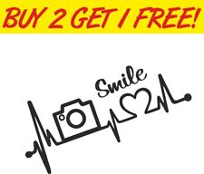Photography Smile Heartbeat Car Bumper Vinyl Window Sticker Funny travel Decal