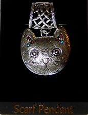 NWT SILVER NETTED MAGNETIC CLOSURE SCARF RING W/CAT PENDANT WITH COLORED STONES