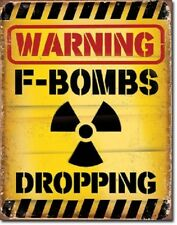 Warning F Bombs Dropping Humor Funny College Dorm Man Cave Decor Tin Metal Sign