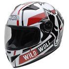 Casco moto integral NZI MUST II WILD WOLF color blanco negro rojo talla XS
