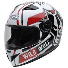Casco moto integral NZI MUST II WILD WOLF color blanco negro rojo talla XXS
