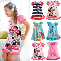 Kids Girl Sleepwear Nightdress Cartoon Pajamas Nightwear Nightgown T-shirt Dress