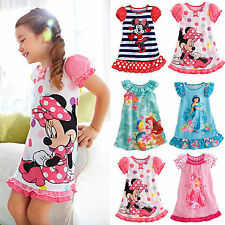 Girls Kids Nightie Nightdress Disney Pyjamas Summer Sleepwear Party Dress 2-5Y