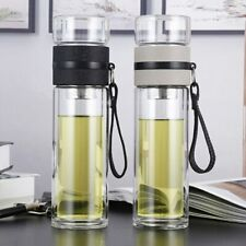 Portable Double Layer Bottle Tea Infuser Glass Stainless Steel Filters Water Cup