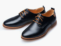 Mens Fashion Casual Dress Formal Oxfords Flats Shoes England Lace Up Shoes Size