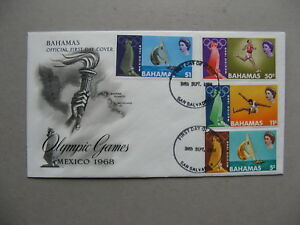 BAHAMAS, cover FDC 1968, Olympic Games Mexico, athletics