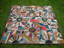 "Vintage CRAZY QUILT Medallion Dresden Pattern Cloth Textile (60"" x 60"" inches)"