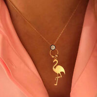 Eg _ Damen Mode Strass Flamingo Anhänger Halskette Party Schmuck Uti