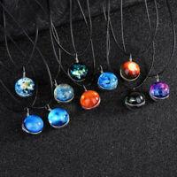 Retro Universe Galaxy Nebula Space Glass Ball Pendant Glow in the dark Necklace