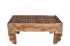 Indien kleiner Kaffeehaustisch aus antiker Holzdecke Schnitzarbeit naturbraun Ra