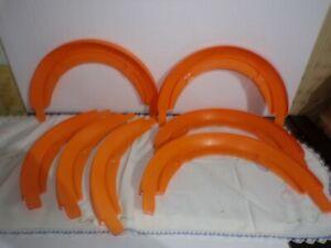 Vintage 60's Mattel Hot Wheels Orange Curved Track 3 90  Degree & 4 180 Degree