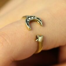 Lucky Wishing Small STAR and MOON Ancient BRONZE Vintage Ring Style USA SELLER