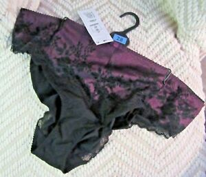 M&S BRAZILIAN KNICKERS BLACK PURPLE SEXY SIZE 28 BRAND NEW WITH TAGS