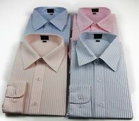 MENS BUSINESS SHIRT Long Sleeve Stripe Checkered CLEARANCE SALE