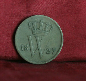 1827 Netherlands 1 Cent Copper World Coin Lion Crown Shield KM47