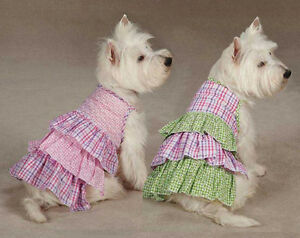 Summer Breeze Dog Dress Zack & Zoey Gingham Seersucker dresses pink green