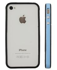 COVER IPHONE 4 4S BUMPER FRAME PLASTIC BLUE SILICONE BLACK