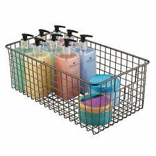 mDesign Metal Bathroom Storage Organizer Basket - Bronze