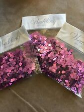 3 x 14g Bags - 6mm PINK Metallic Hearts Confetti Wedding Party Table Decorations