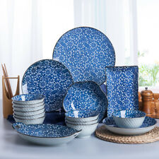 2,3,4pcs Crockery Blue Ceramic Dinner Plates Dish Bowl Serving Dining Tableware