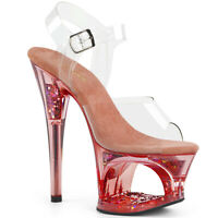 Pleaser MOON-708GFT Women's Clear Pink Tinted Heel Cut-Out Platform Strap Sandal
