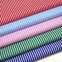 Candy Stripes Fabric 3mm Striped HALF METRE - Stripes Polycotton Blue Red White