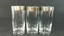 """Three Silver Rimmed Drinking Glasses 5 5/8"""" Tall"""