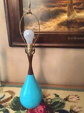 VINTAGE MID CENTURY MODERN TABLE LAMP TEAK WOOD CERAMIC 1960;s