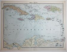 1920 gran mapa West Indies Haití Jamaica Cuba Mar Caribe Islas de Sotavento