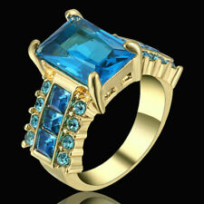 Size7 Aquamarine Ring White CZ Women's Luxury 10kt Yellow Gold Filled Engagement