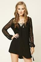 Forever 21 Black Floral Mesh Lace-Up Swing embroidery Dress Medium M