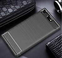 For Sony Xperia XZ1 Carbon Fibre Gel Case Cover Brushed Shockproof Hybrid