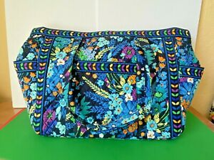 Vera Bradley Extra Large Midnight Blues Travel Tote Weekend Carry On RETIRED New