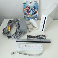 White Nintendo Wii Console Bundle 1 Controller 1 Nunchuck Cables Mario Game