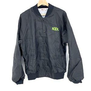 Large Hartwell Vintage Bomber Jacket Kool Cigarettes Mens Black Button Up C017