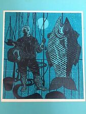 Louise Gilbert American Color Woodblock Fisherman Wharf 1950  San Francisco Art