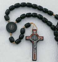 "Mens 10MM Black Wood Bead St Saint Benedict Holy Rule 19"" Cord Rosary"