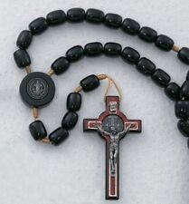 "Mens 10MM Black Wood Bead St Saint Benedict Holy Rule 19"" Cord Rosary"